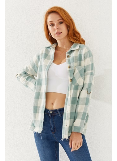 Reyon REYON Kadın Oversize Ekose Gömlek Mint Yeşil